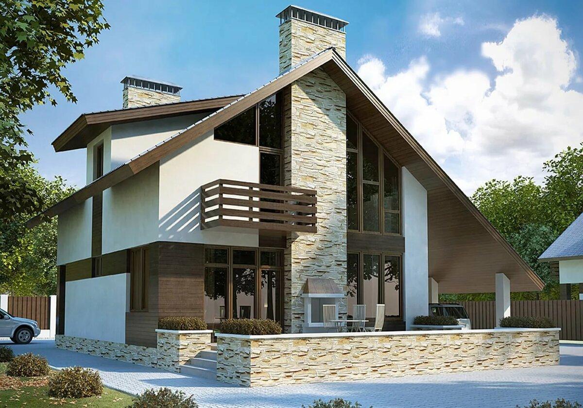 есть дизайн двухэтажного дома с мансардой фото нас