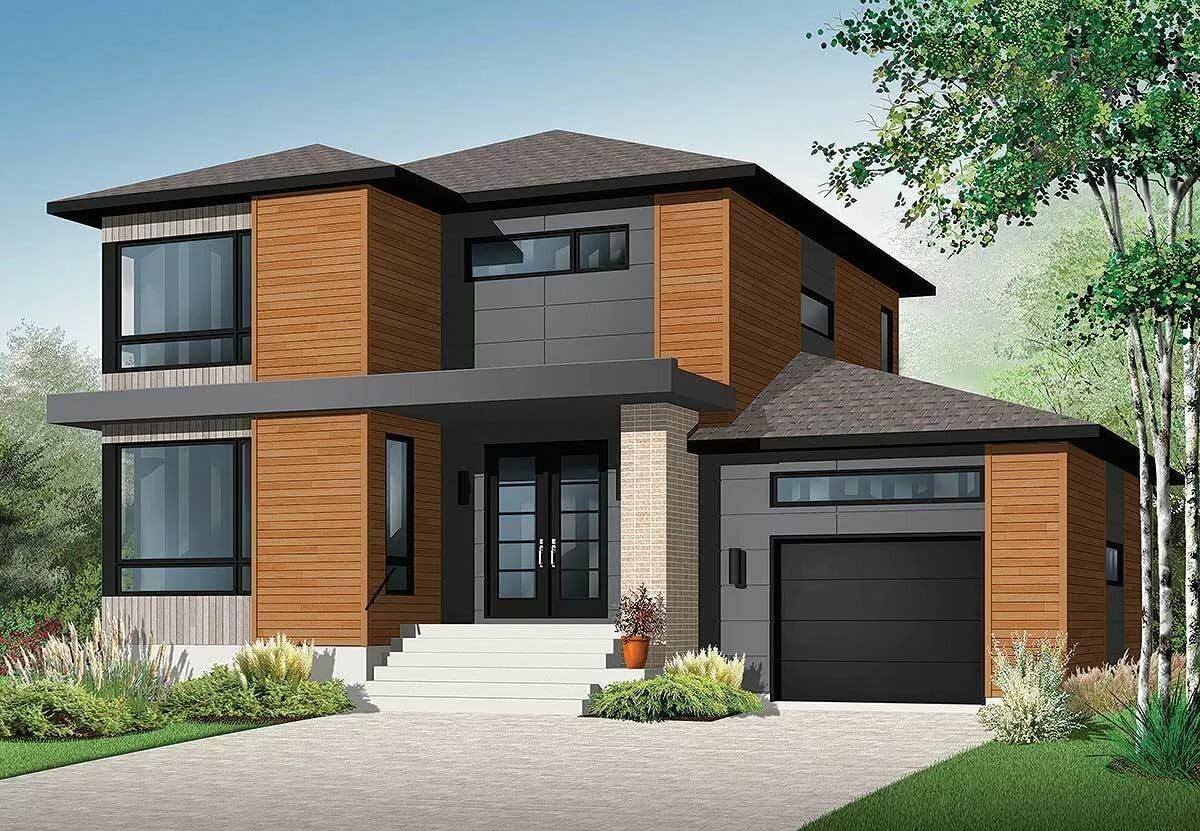 Проект двухэтажного дома с гаражом картинки